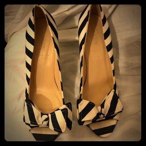 J.Crew blue and white striped peep-toe bow heels